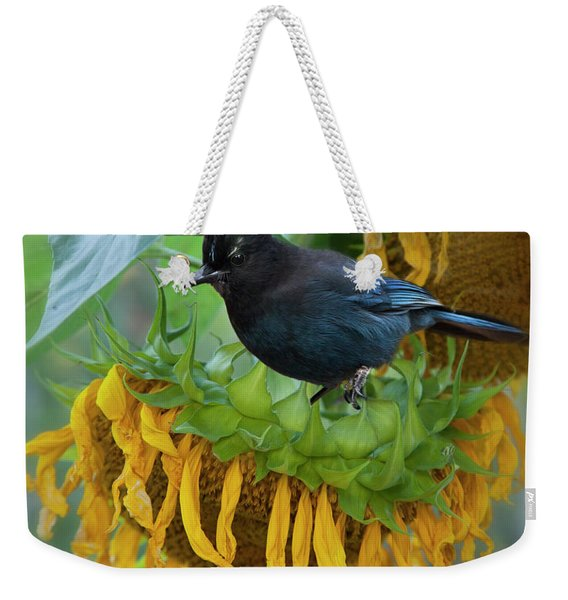 Giant Sunflower With Jay Weekender Tote Bag