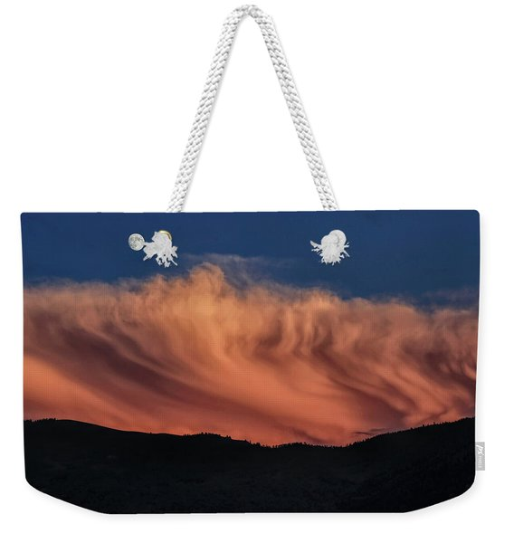 Gibbous Moon With Sunset Storm Clouds Weekender Tote Bag