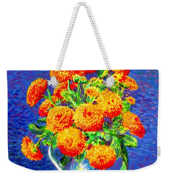 Gift Of Gold, Orange Flowers Weekender Tote Bag