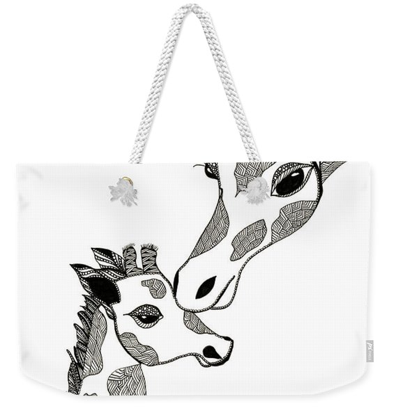Weekender Tote Bag featuring the drawing Giraffe Mom And Baby by Barbara McConoughey