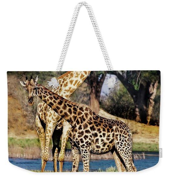 Giraffe Mother And Calf Weekender Tote Bag