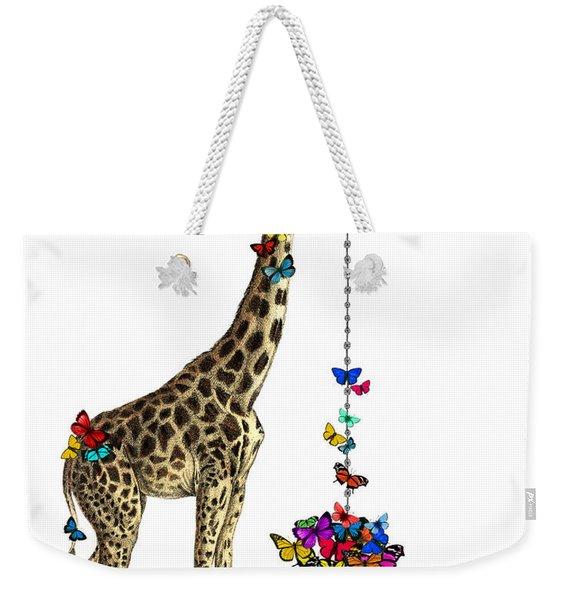 Giraffe With Colorful Rainbow Butterflies Weekender Tote Bag