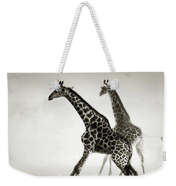 Giraffes Fleeing Weekender Tote Bag