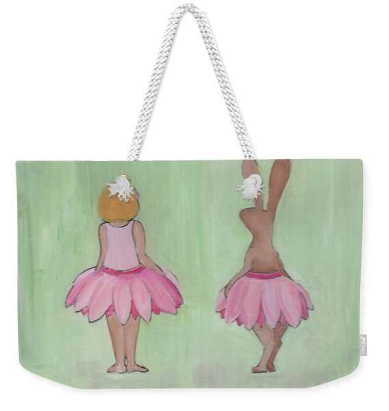 Girl And Bunny In Pink Tutus Weekender Tote Bag