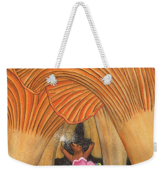 Girl Bear In Galoshes Weekender Tote Bag