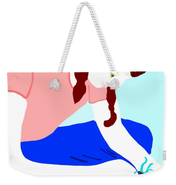 Weekender Tote Bag featuring the painting Girl Crocheting by Marian Cates