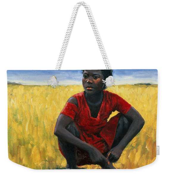 Girl In Red Weekender Tote Bag