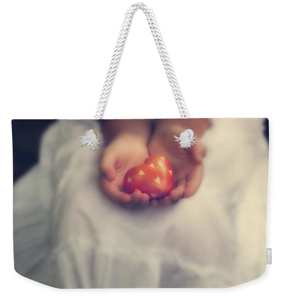 Girl Is Holding A Heart Weekender Tote Bag