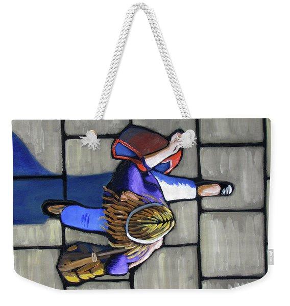 Girl Overhead Walking Weekender Tote Bag