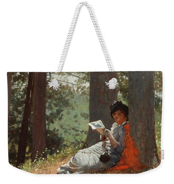 Girl Reading Under An Oak Tree Weekender Tote Bag