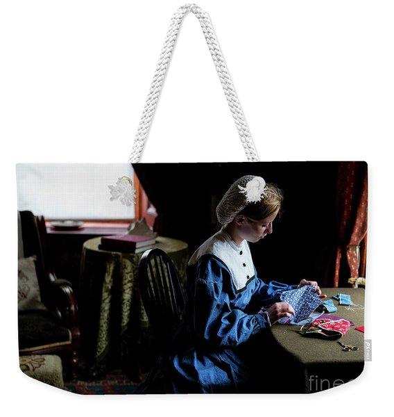 Girl Sewing Weekender Tote Bag