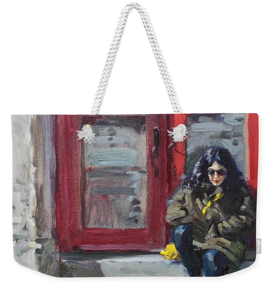 Girl Sitting At Red Doorstep Weekender Tote Bag