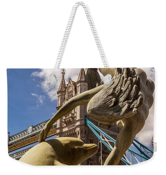 Girl With A Dolphin Fountain Weekender Tote Bag