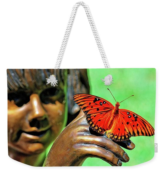 Girl With Butterfly Weekender Tote Bag