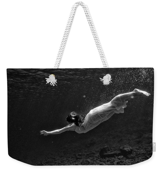 Girl With Clothes Underwater Weekender Tote Bag