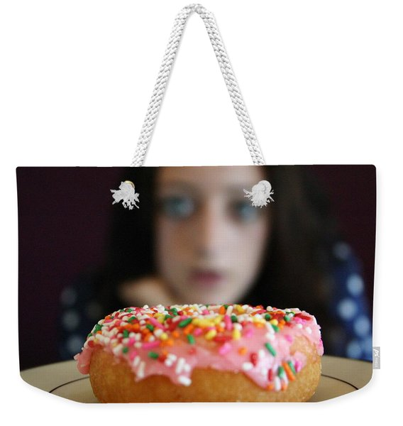 Girl With Doughnut Weekender Tote Bag
