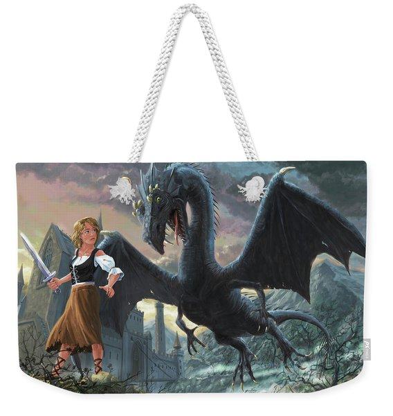 Girl With Dragon Fantasy Weekender Tote Bag