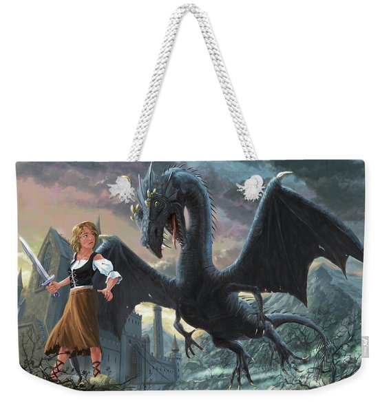 Girl With Dragon Fantasy Weekender Tote Bag