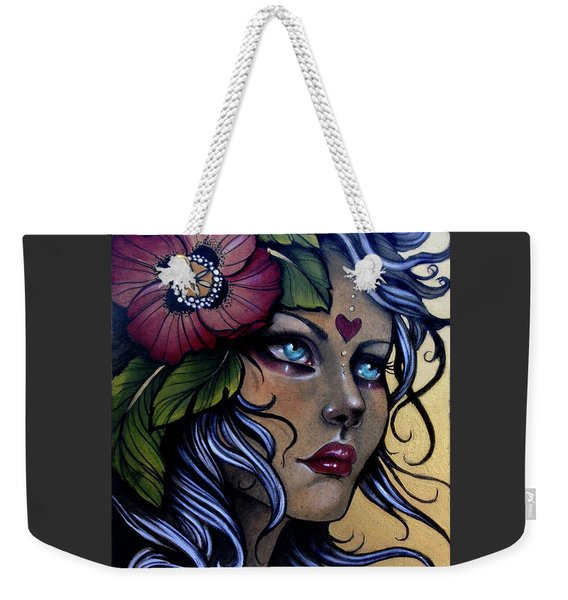 Girl With Poppy Flower Weekender Tote Bag