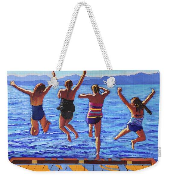 Girls Jumping Weekender Tote Bag