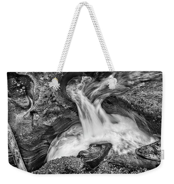 Glacier National Park's Avalanche Gorge In Black And White Weekender Tote Bag