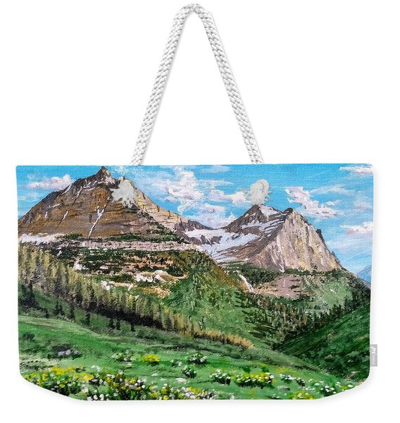 Weekender Tote Bag featuring the painting Glacier Summer by Kevin Daly