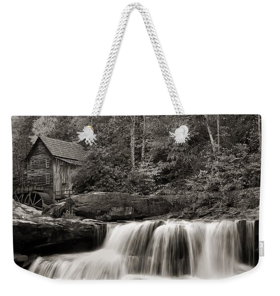 Glade Creek Grist Mill Monochrome Weekender Tote Bag