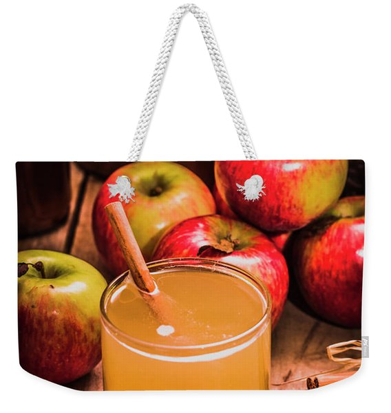 Glass Of Fresh Apple Cider Weekender Tote Bag
