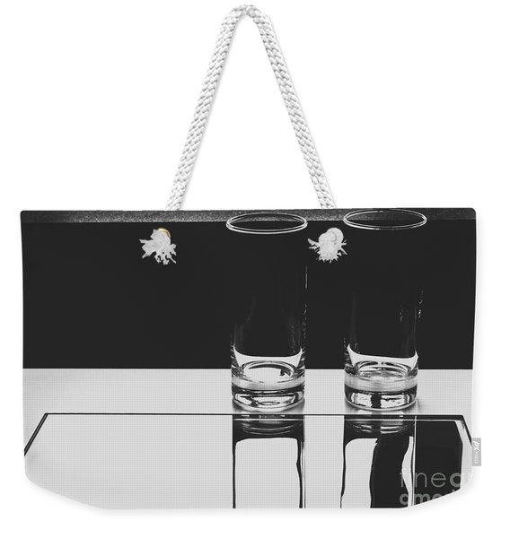 Glasses On A Table Bw Weekender Tote Bag