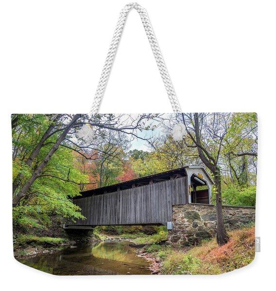 Glen Hope Covered Brige During Autumn Weekender Tote Bag