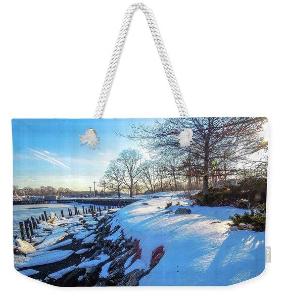 Glen Island Snowfall Weekender Tote Bag