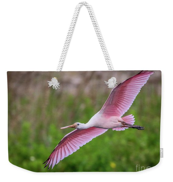 Weekender Tote Bag featuring the photograph Gliding Spoonbill by Tom Claud