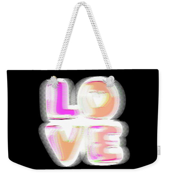 Weekender Tote Bag featuring the digital art Glitch In Black by Bee-Bee Deigner