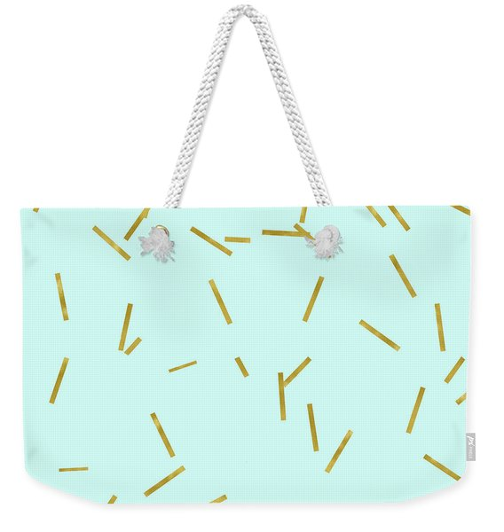Glitter Confetti On Aqua Gold Pick Up Sticks Pattern Weekender Tote Bag
