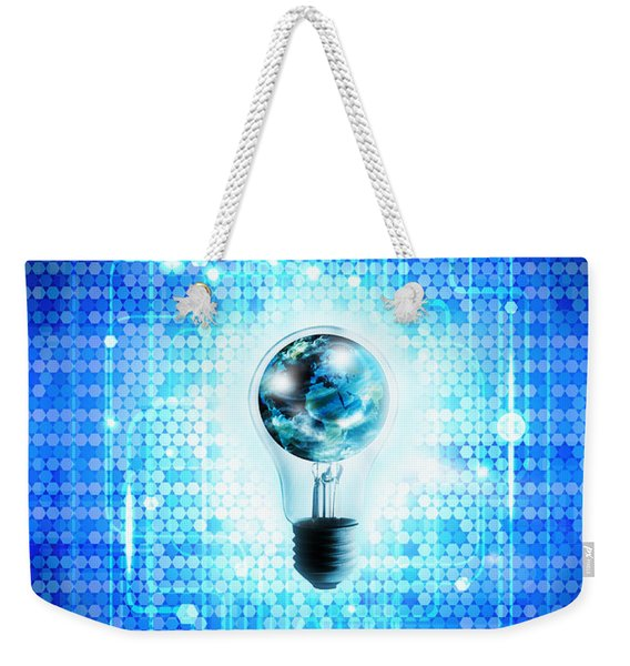 Globe And Light Bulb With Technology Background Weekender Tote Bag