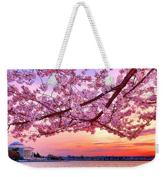 Glorious Sunset Over Cherry Tree At The Jefferson Memorial  Weekender Tote Bag