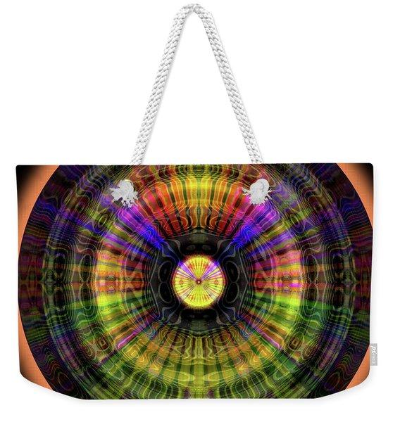 Weekender Tote Bag featuring the digital art Glow Wheel Eight by Visual Artist Frank Bonilla