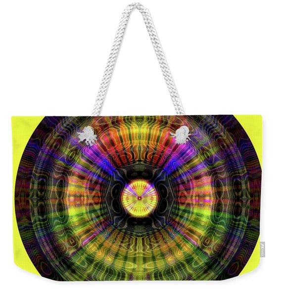 Weekender Tote Bag featuring the digital art Glow Wheel Nine by Visual Artist Frank Bonilla