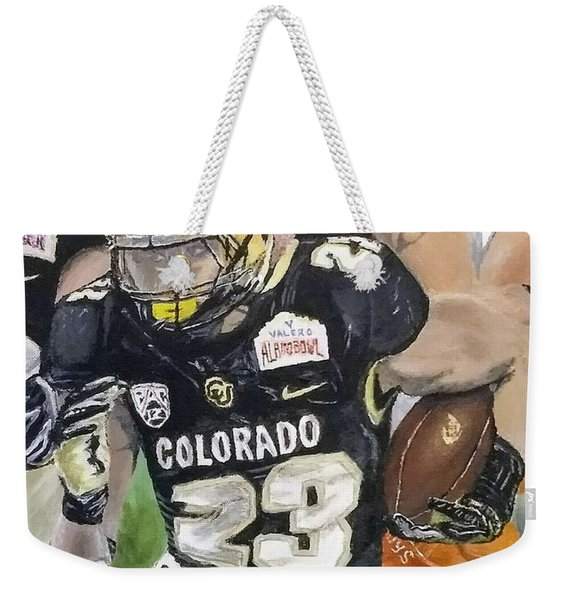 Weekender Tote Bag featuring the painting Go Buffs by Kevin Daly