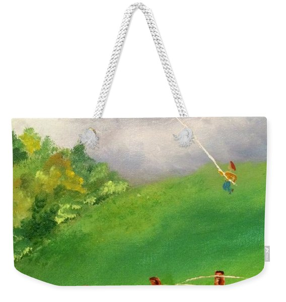 Weekender Tote Bag featuring the painting Go Fly A Kite by Denise Tomasura