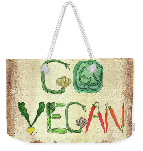 Go Vegan Watercolor Sign Weekender Tote Bag