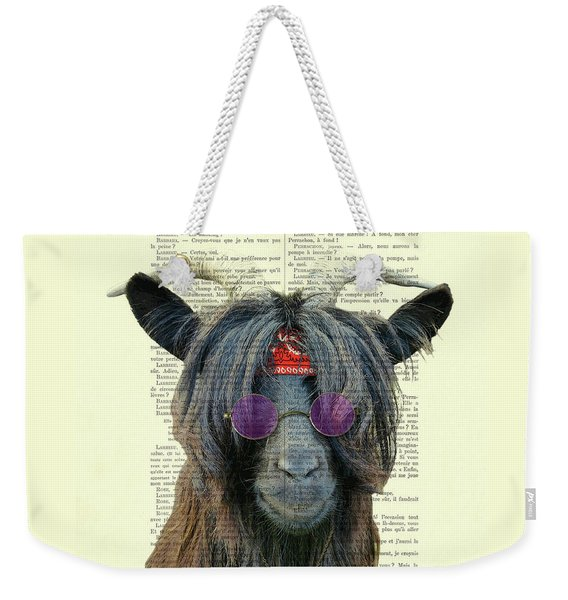 Goat In Hippie Clothes With Purple Glasses And Peace Necklace Weekender Tote Bag