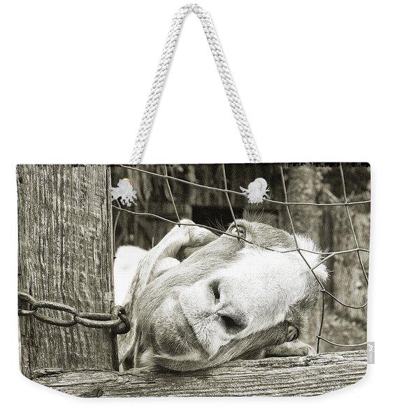Goat Stare Weekender Tote Bag
