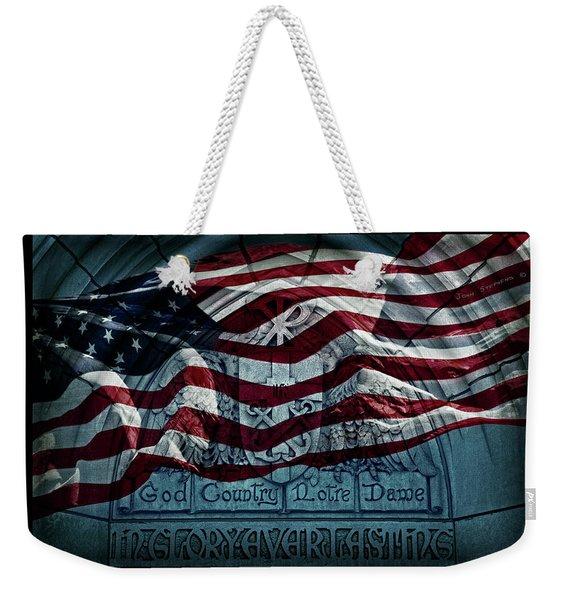 God Country Notre Dame American Flag Weekender Tote Bag