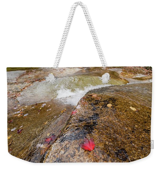 Weekender Tote Bag featuring the photograph Going With The Flow, Step Falls, Newry, Maine #40086 by John Bald