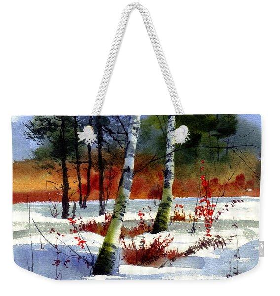 Gold Bushes Watercolor Weekender Tote Bag