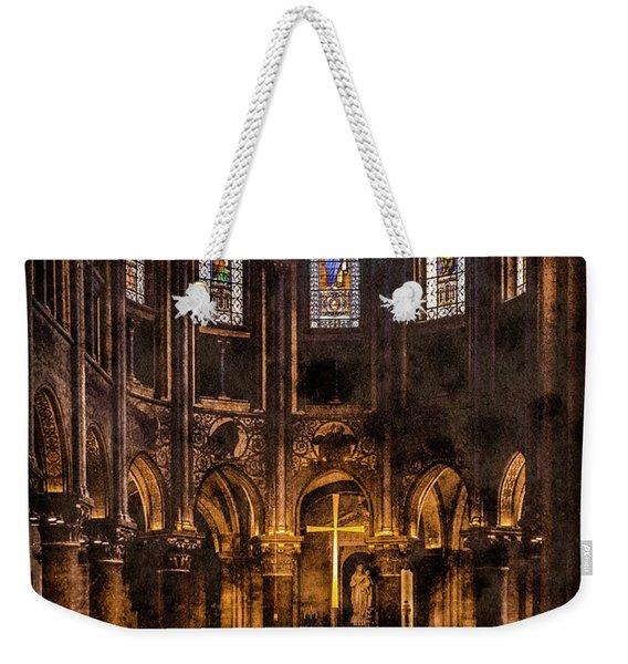 Paris, France - Gold Cross - St Germain Des Pres Weekender Tote Bag