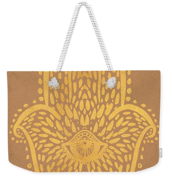 Gold Hamsa Hand On Brown Paper Weekender Tote Bag