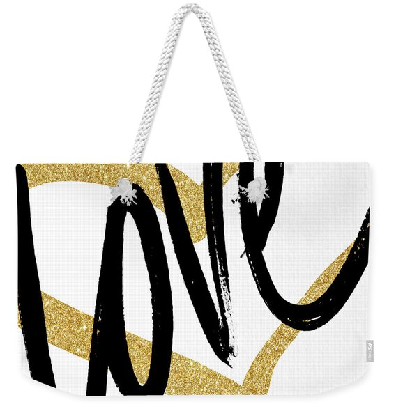 Gold Heart Black Script Love Weekender Tote Bag