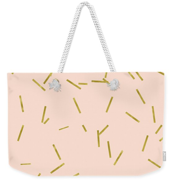 Gold Matchstick Confetti Print On Angel Pink Weekender Tote Bag